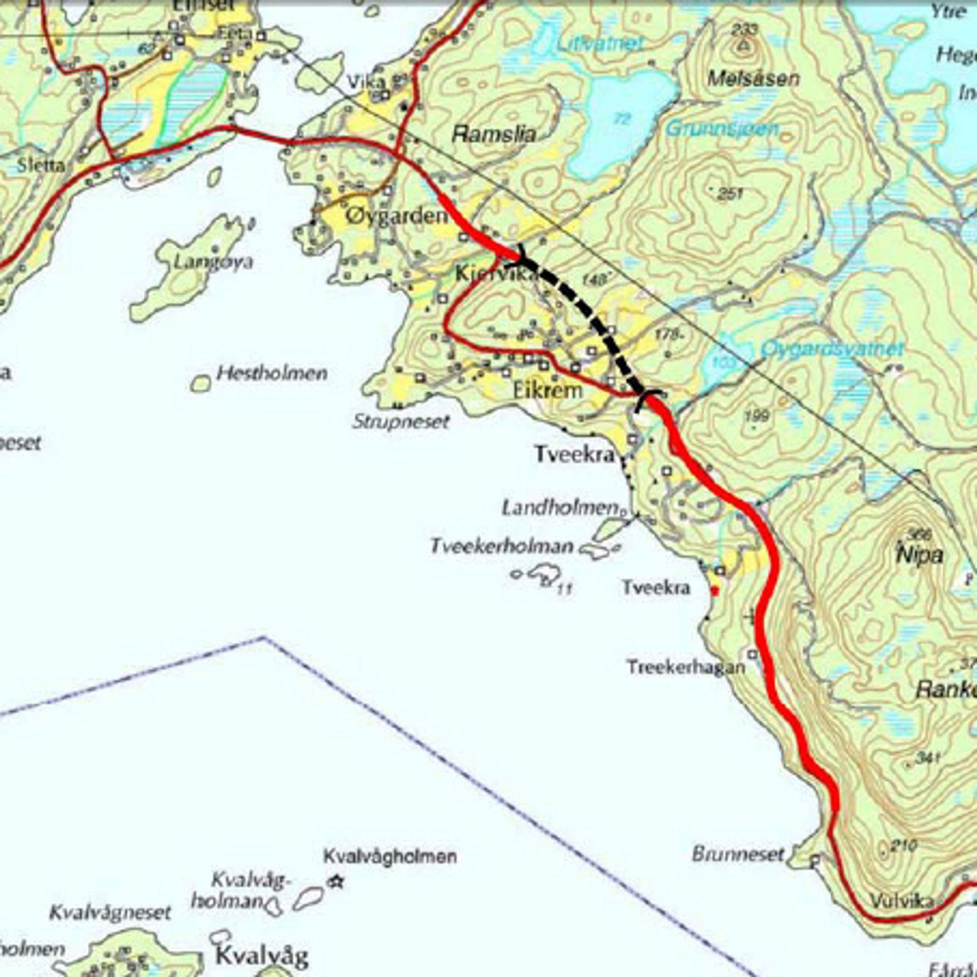 Strekningen Tveekrem-Bronneset er markert med tykk rød linje nedenfor den svarte stiplete linjen.