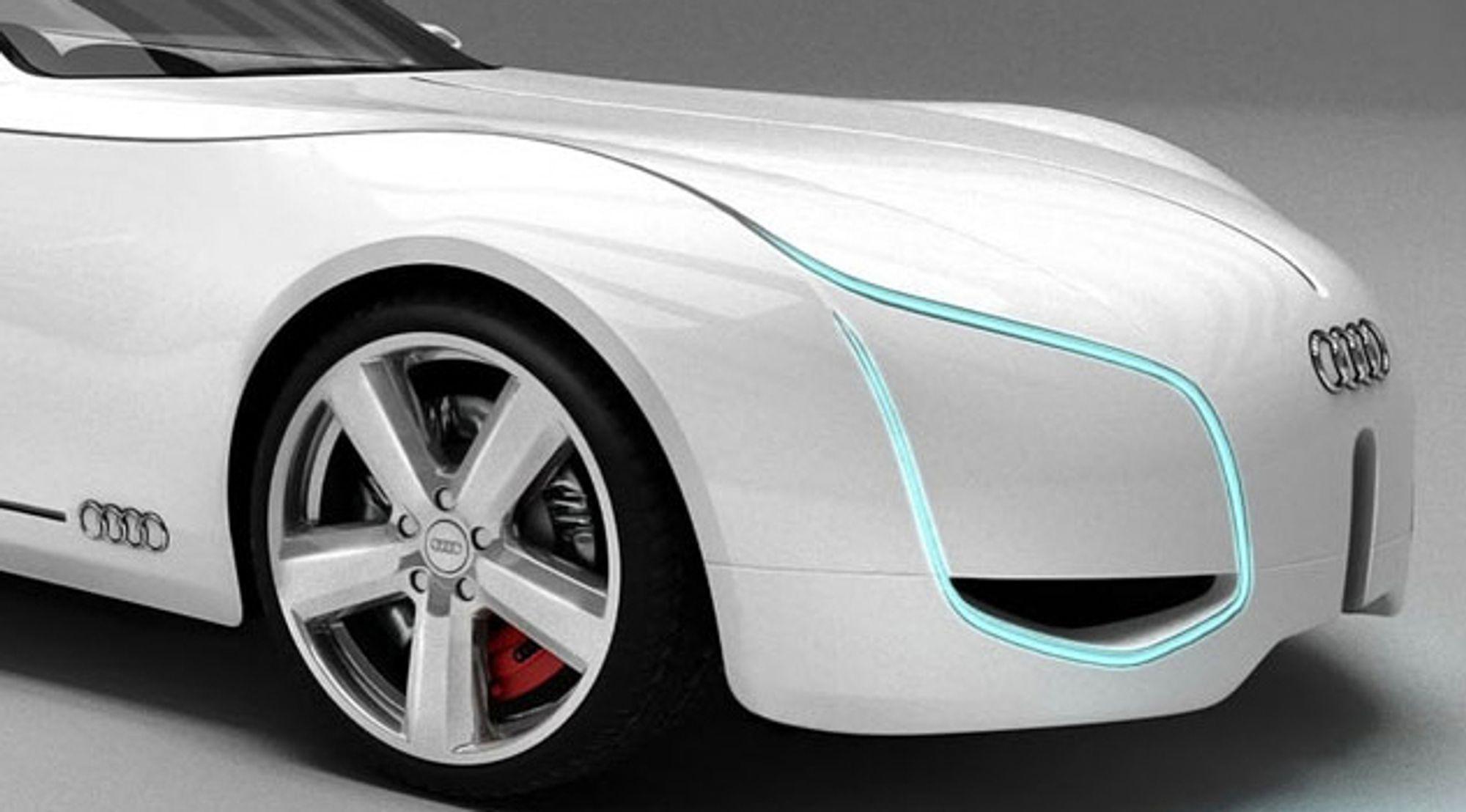 FRAMTIDSGLISET: Bilfabrikantene kappes om å bygge elbiler, her er Audis konseptbil D/. Transportsektoren står overfor svært store omveltninger når oljeproduksjonen faller. Et helt nytt paradigme er i emning, mener Econ Pöyry, som har skrevet en rapport på vegne av Samferdselsdepartementet.