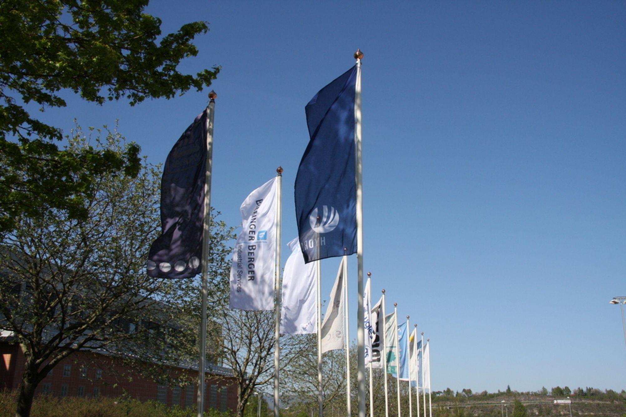 Hydro-flagg vaier over Herøya
