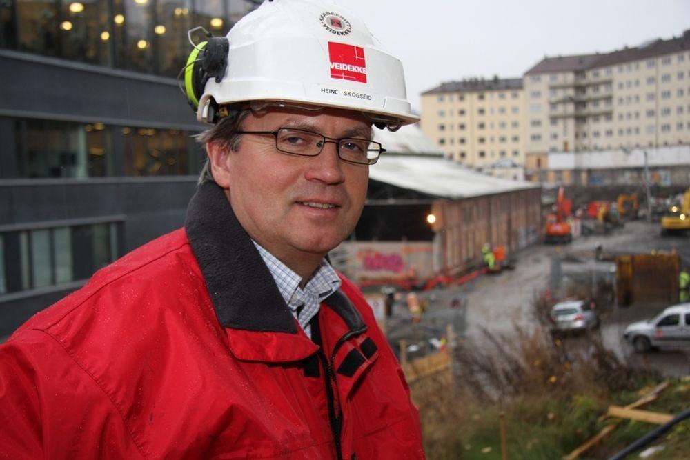 UTFORDRING: ¿ Det er en utfordring å klare energikravet i Bellona-huset. Vi er ikke i mål ennå, sier prosjektleder Heine Skogseid i Veidekke Entreprenør AS.