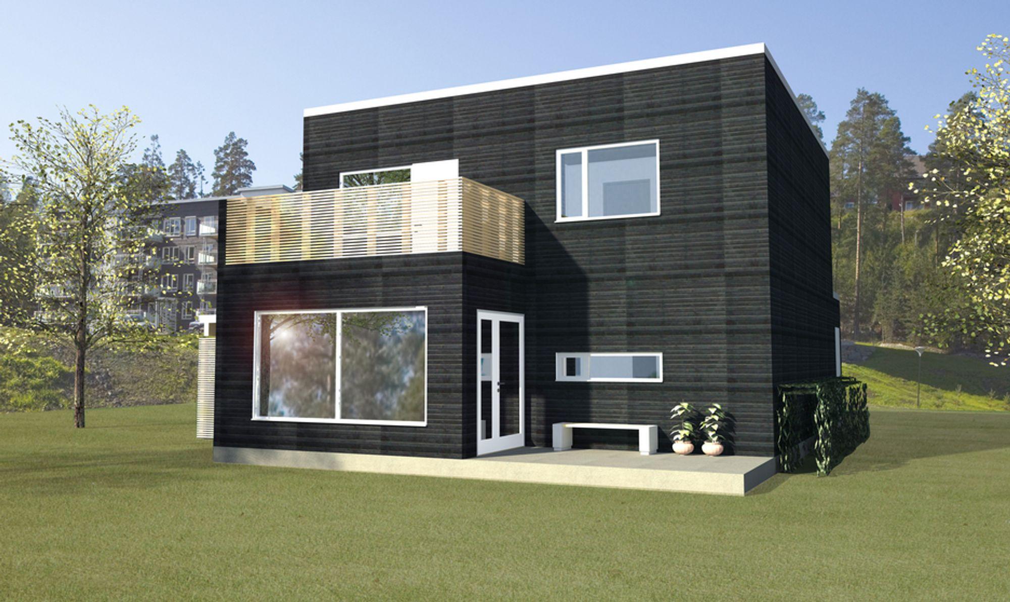 FREMTIDEN: Slike passivhus er nå under bygging på Mortensrud i Oslo. Det blir det første passivhusprosjektet til OBOS. Både Ole-Petter Haugen og Tor Helge Dokka tror passivhus er fremtiden.