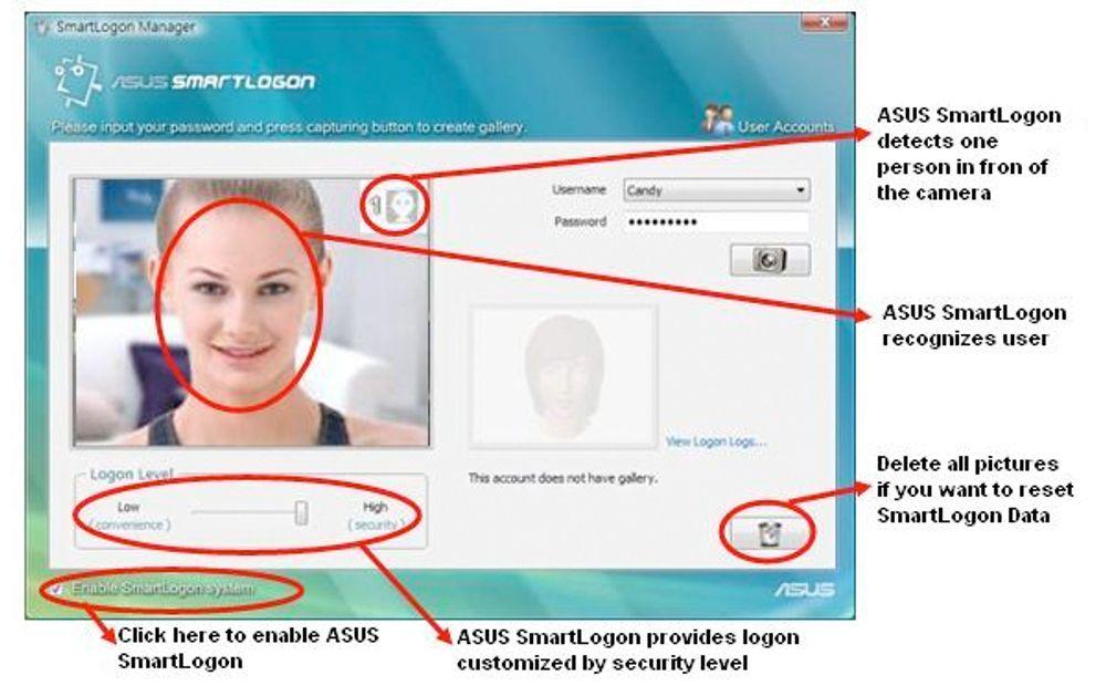 Asus løsning for ansiktsgjenkjenning som inlogging.