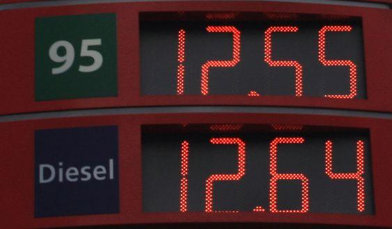 Mars 2008: For første gang er diesel dyrerer enn bensin. Statoil-stasjon på Majorstua, Oslo 14. mars 2008.