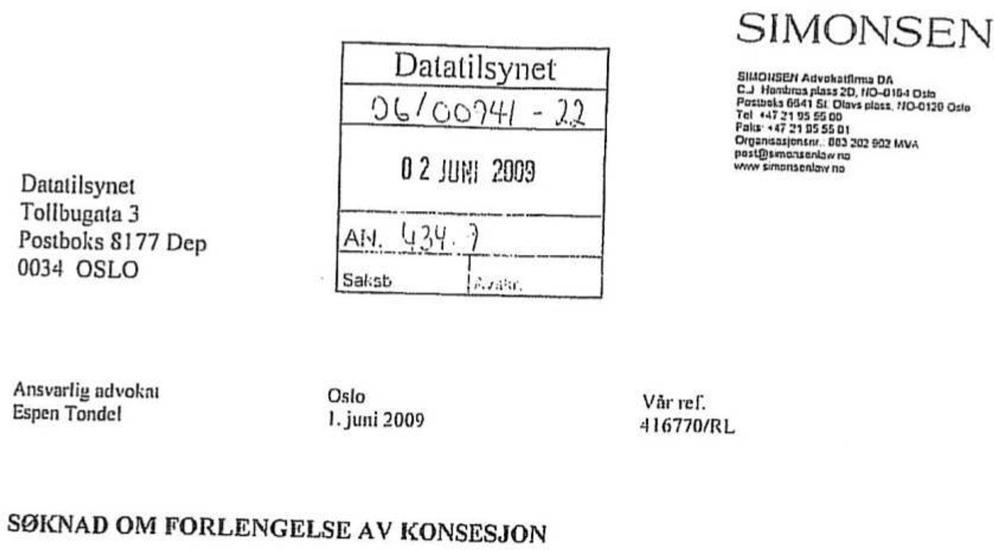 Advokatfirmaet Simonsen fikk avslag fra Datatilsynet om å få forlenget konsesjonen sin frem til 31.12.2010. Nå vil Kulturdepartementet si sitt.