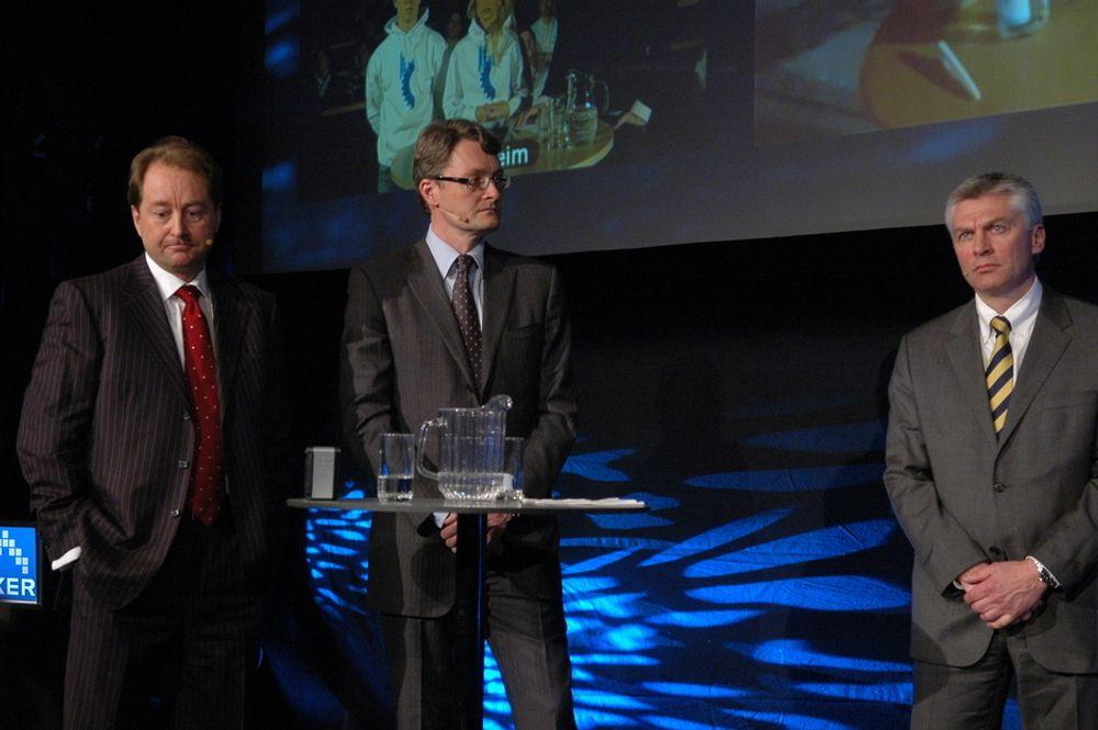BETENKT: Herrene Kjell Inge Røkke, Øyvind Eriksen og Simen Lieungh hadde neppe tenkt seg at kjøpet av akjser fra Aker er blitt en het politisk potet.