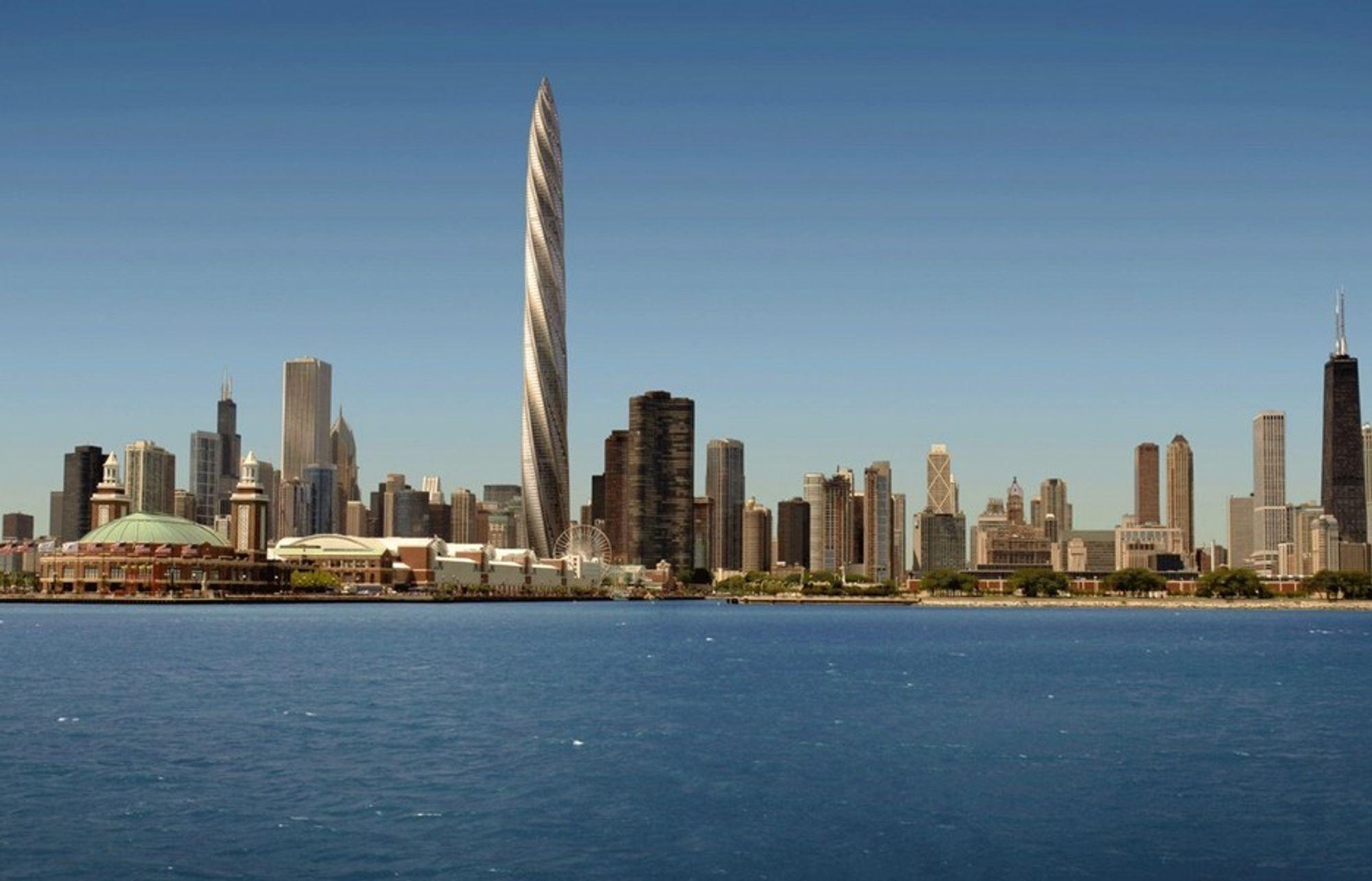 """SKRINLAGT: """"Spiret"""" i Chicago skulle stå ferdig i 2012. Nå er det usikkert om det blir bygget i det hele tatt. 140 av 1320 planlagte skyskrapere er satt på vent på grunn av krisetidene, ifølge Emporis GmbH."""