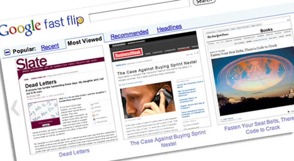 Fast Flip gir superrask visning av nyheter fra utvalgte nettjenester.