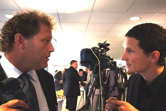 Miljøorganisasjonenene er kraftig uenige om CO2-fangst og lagring. Her skjeller   Bellona-leder Frederic Hauge ut Greenpeace-leder Truls Gulowsen fordi organisasjonen er kritisk til teknologien. Bildet er tatt på Klimakonferansen i Bergen 27. mai 2009.