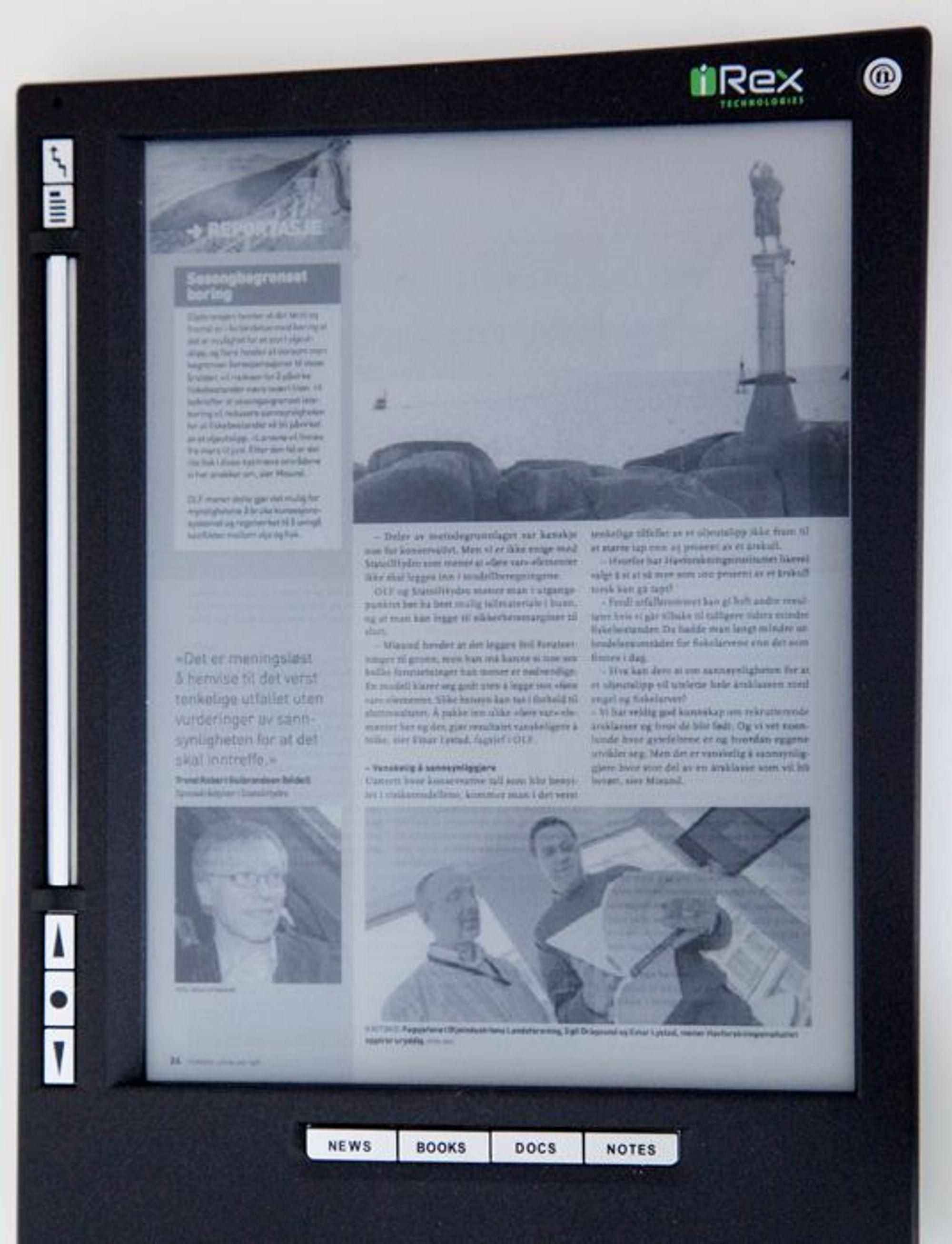 Teknisk Ukeblad på et iRex lesebrett.