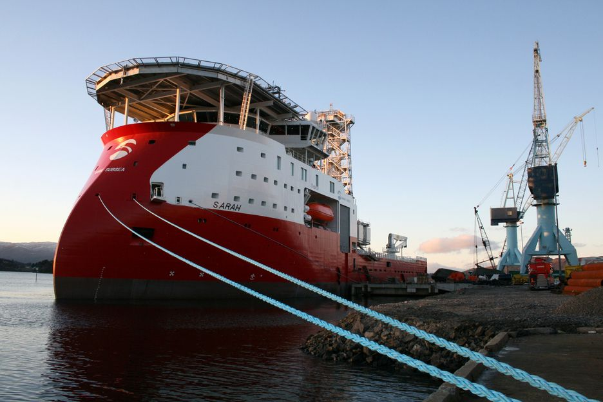 STOLTE SARAH: Finansieringen av Sarah kom på plass før jul slik at Maritme Subsea kan sette skipet inn på en jobb utenfor Angola seks måneder forsinket.