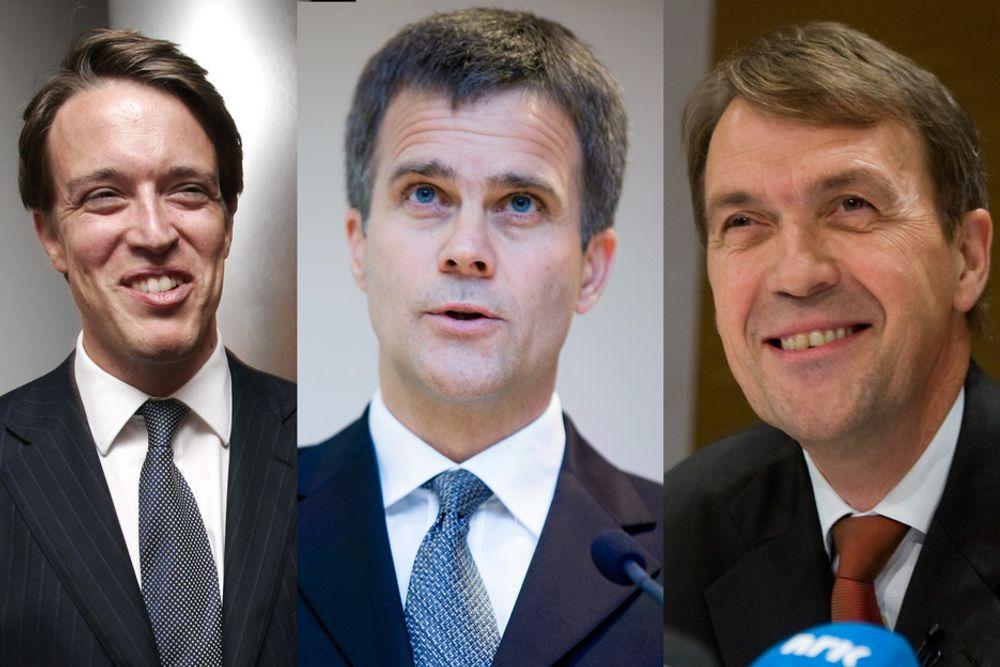 Tre av Norges aller best betalte menn: Tandberg-sjef Fredrik Halvorsen, StatoilHydro-sjef Helge Lund og Hydros Eivind Reiten.