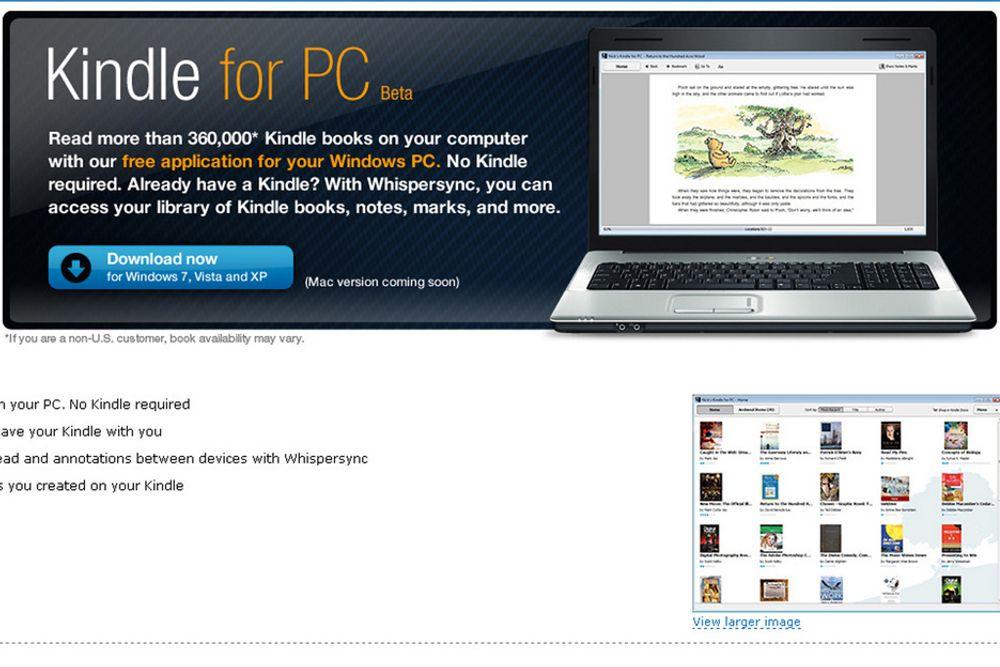 Amazons e-bøker er nå også tilgjengelige for PC.