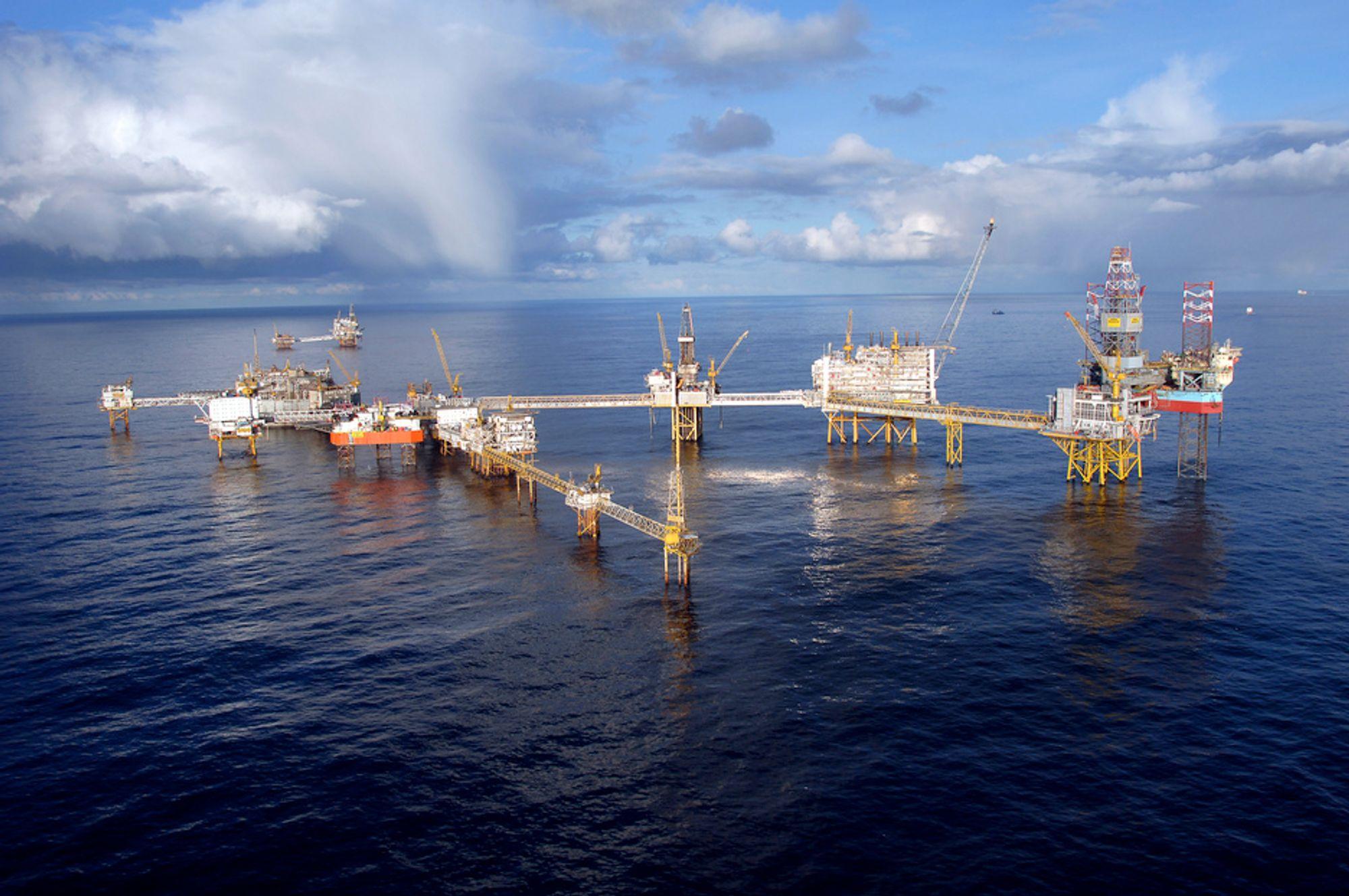 KOLLISJON: Et skip kolliderte med en av plattformene på Ekofisk natt til mandag. Plattformen er nå stengt.
