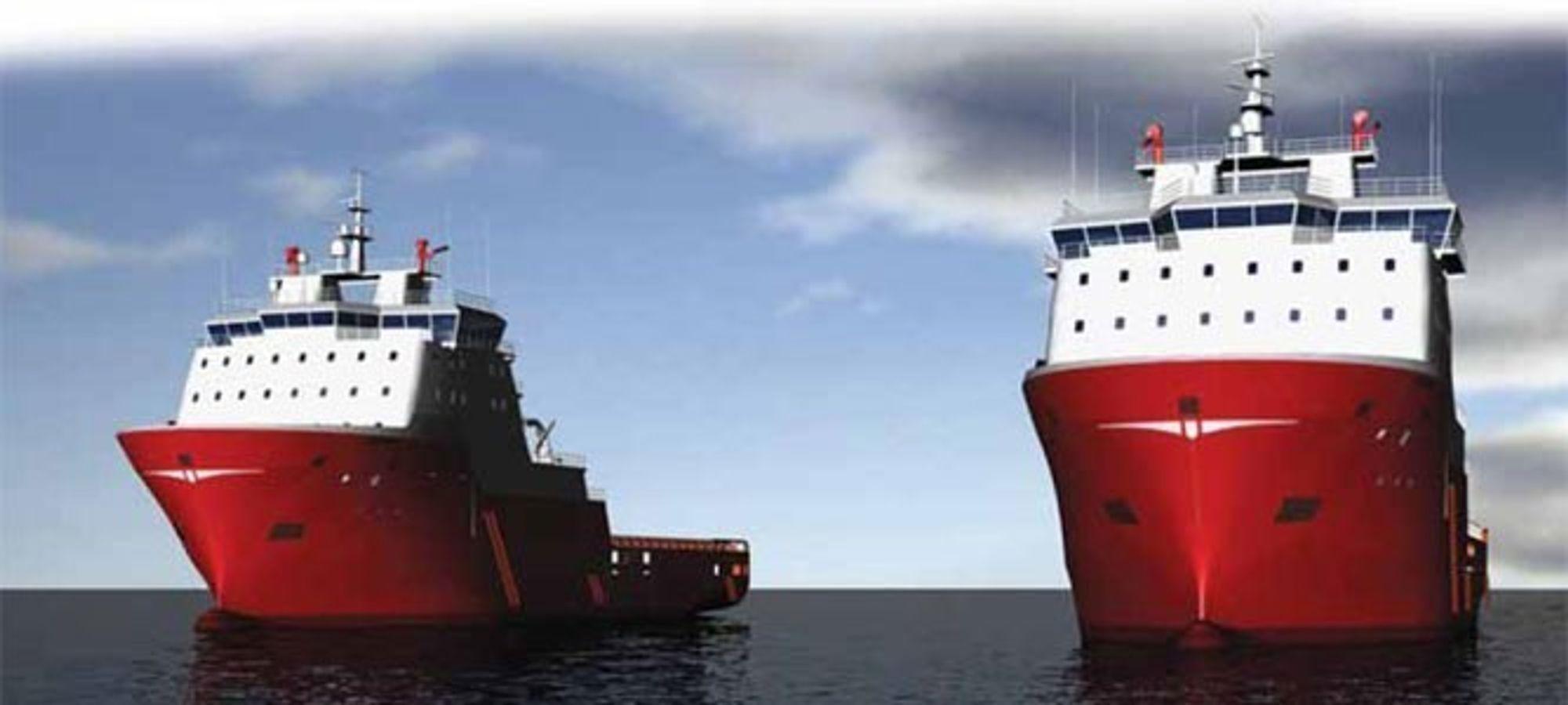 Slik skulle de to ankerhåndteringsfartøyene fra Karmsund Maritime sett ut, men nå har oppdragsgiveren kansellert milliardkontrakten.