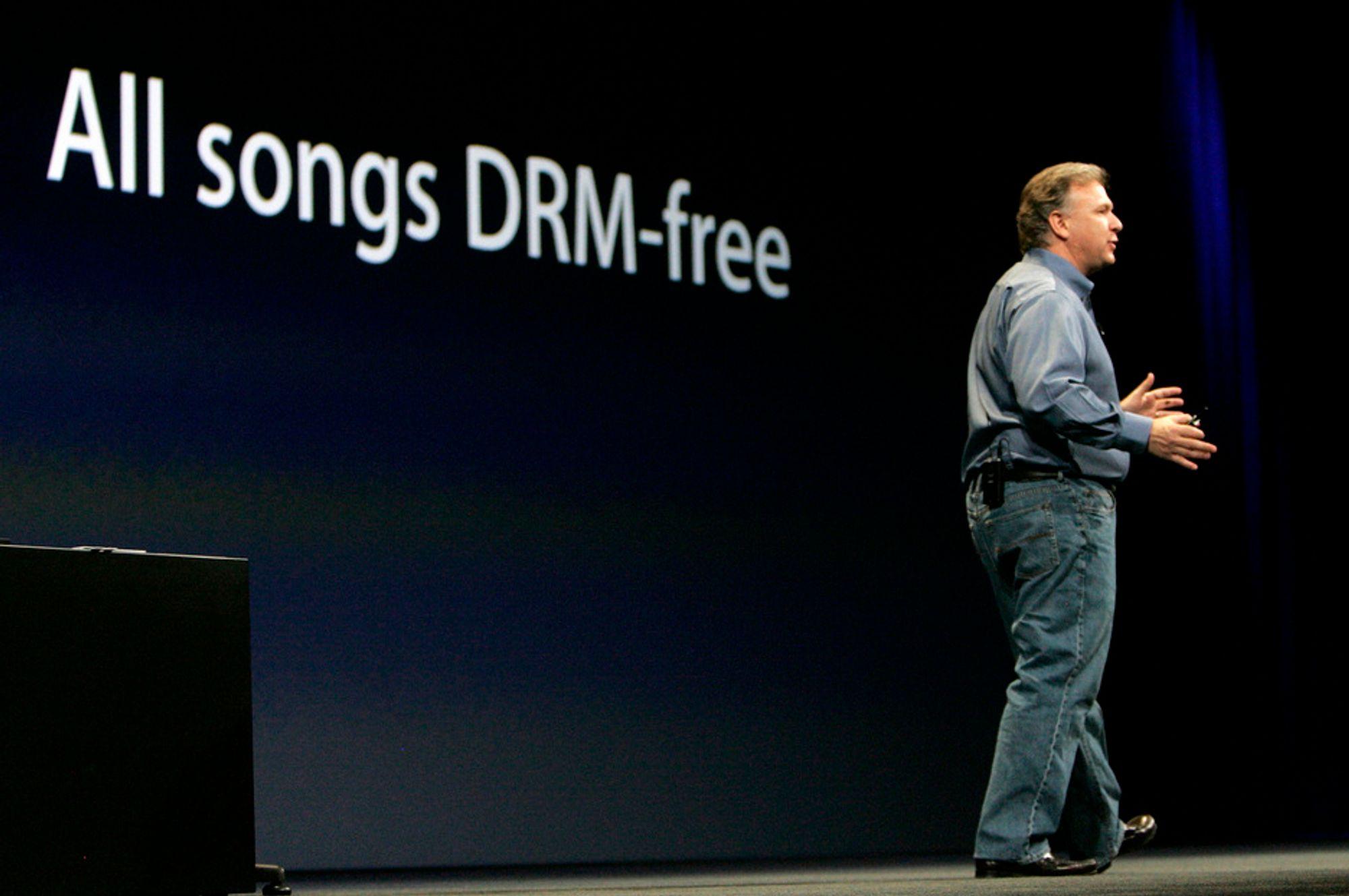 MACWORLD: Phil Schiller kom med budskapet om at iTunes-kjøpt musikk nå kan spilles av med andre spillere enn iPod.
