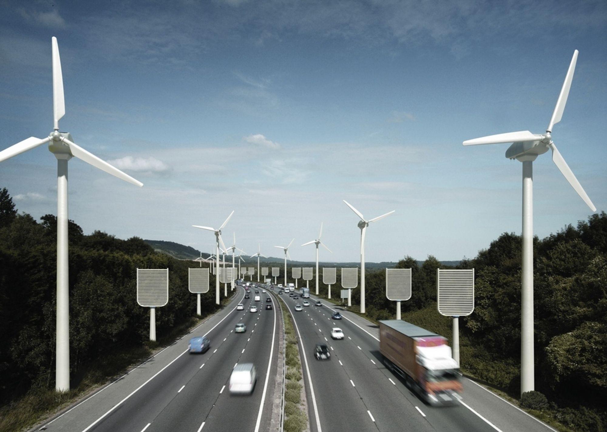 MEKANISKE TRÆR: De mekaniske trærne ser ut som fluesmekkere langs denne motorveien. Britiske ingeniører mener filtrene i disse trærne kan fange tusen ganger mer CO2 enn vanlige trær. Dette er ett av forslagene i en ny rapport om geoengineering.
