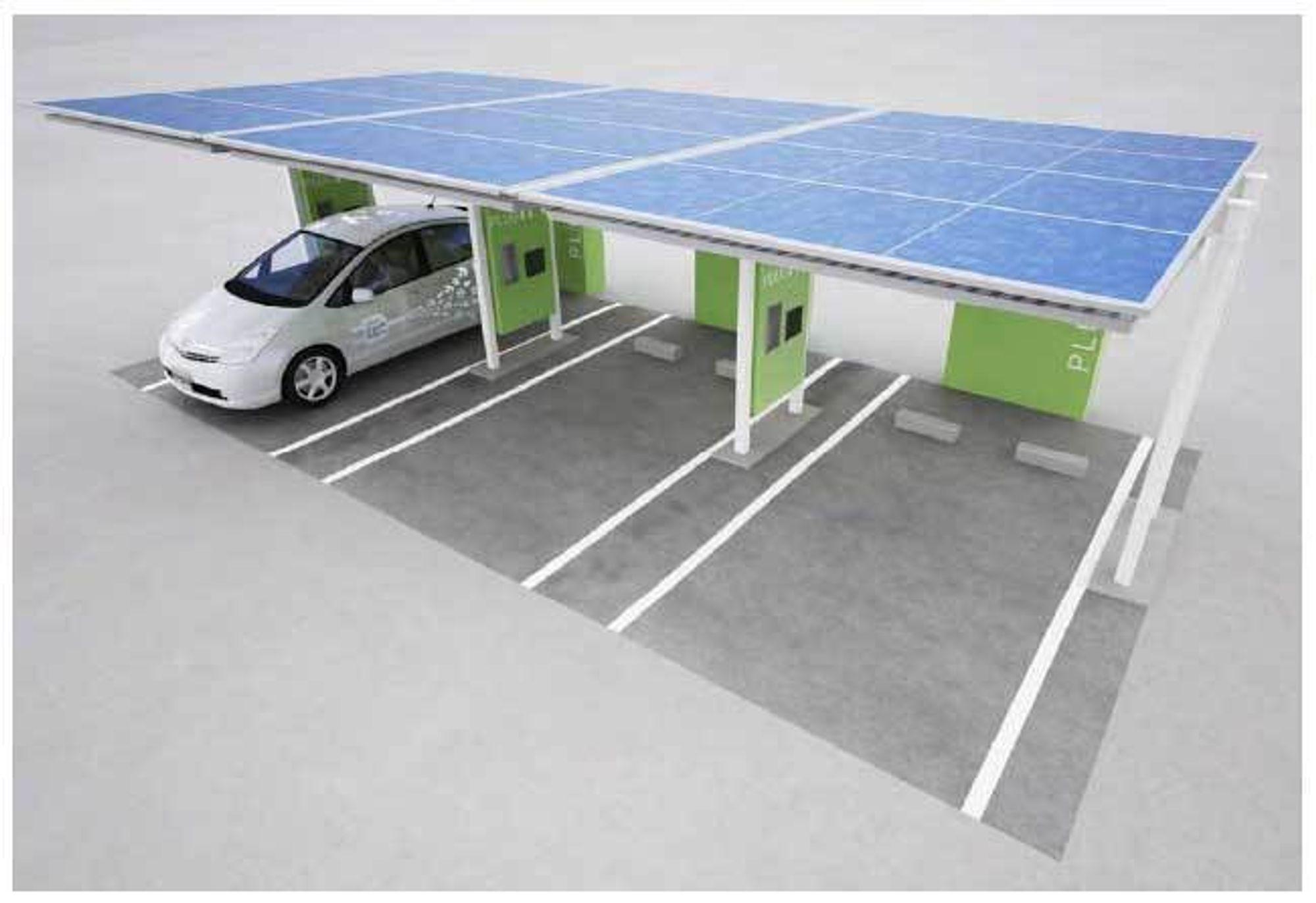 MILJØVENNLIG: Toyotas nye soldrevne ladestasjoner til Prius og elbiler.