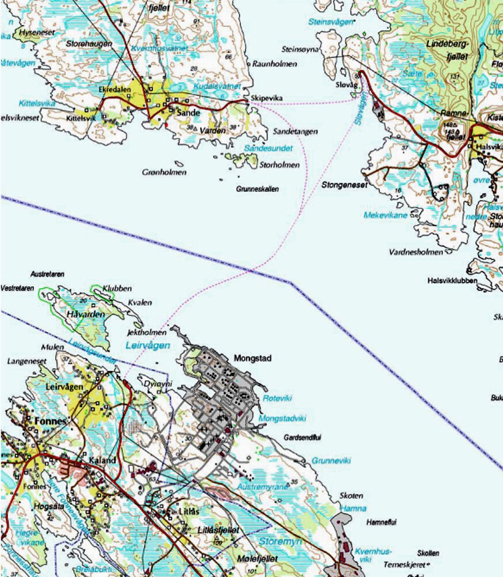 Trekantsambandet er markert med stiplet linje. Når Brandangersundet bru blir ferdig, innstilles anløpene på Skipavik øverst til høyre.