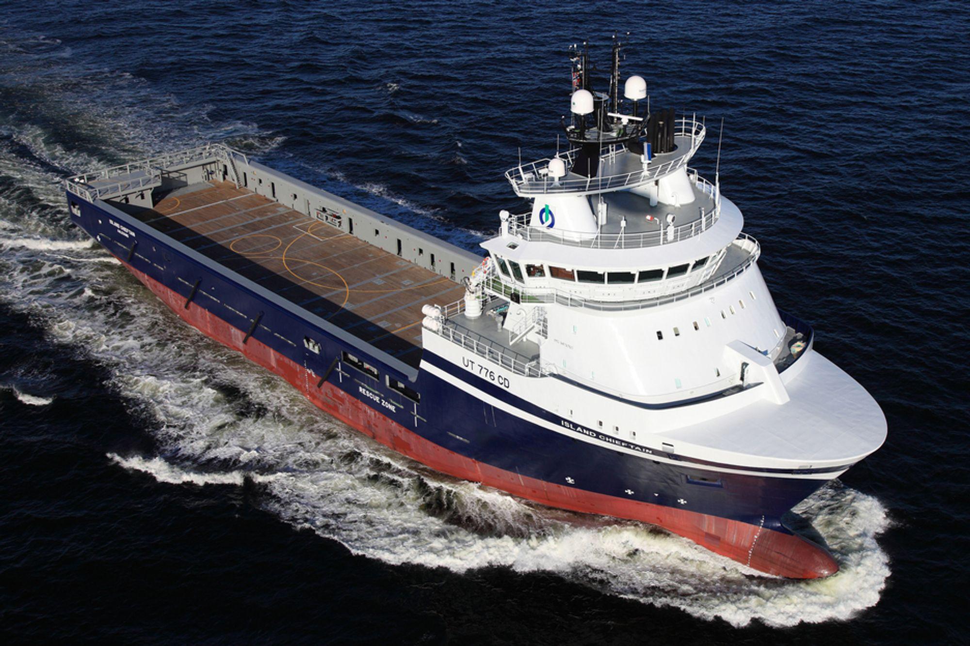 ISLAND CHIEFTAIN: De to nye bestillingene blir likt som dette 93 meter lange og 20 meter brede forsyningsskipet.