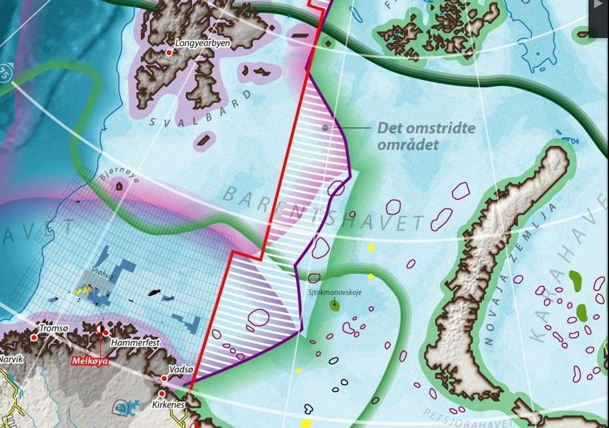 Stort: Området Norge og Russland krangler om kan inneholde store mengder olje og gass.