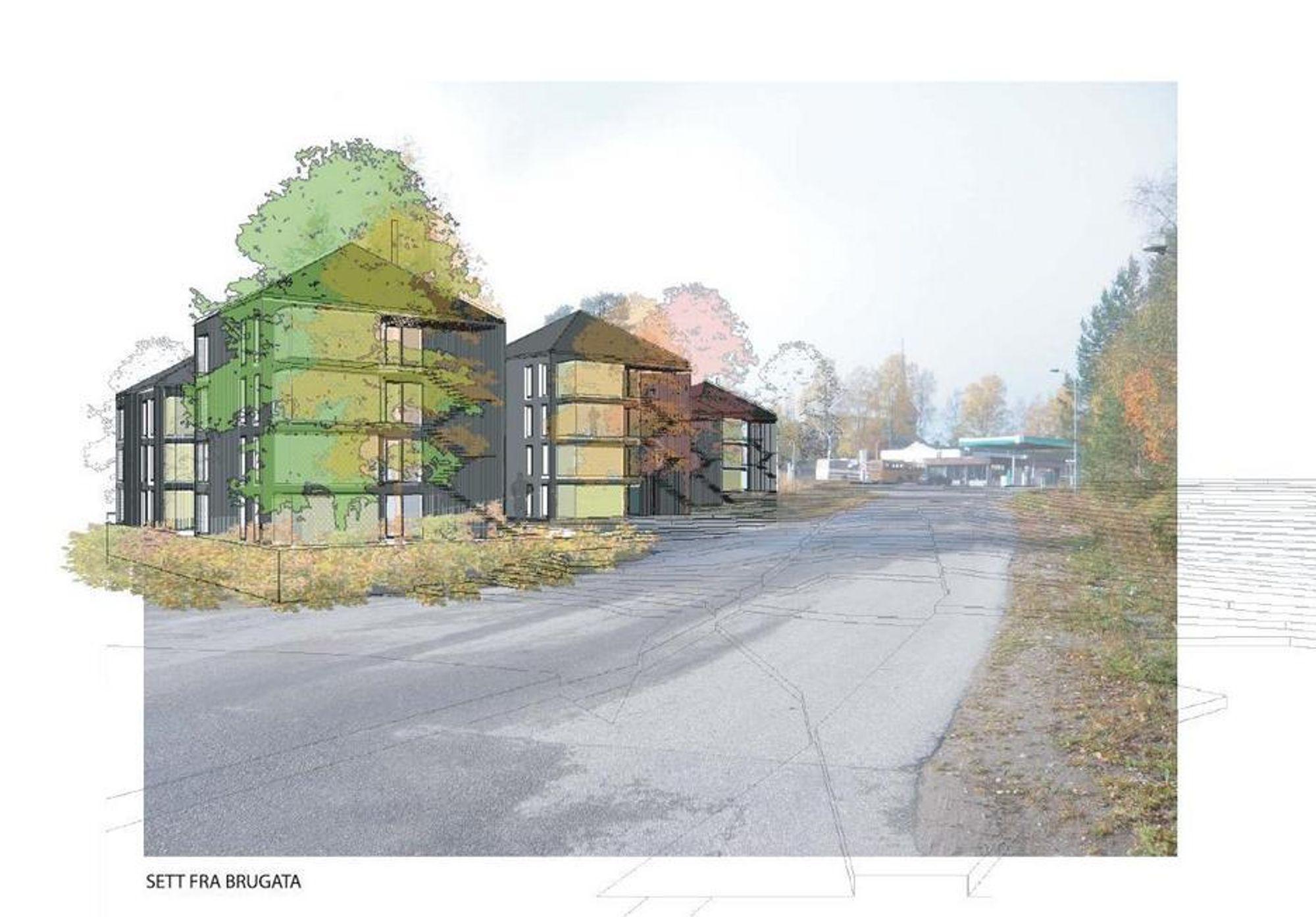 MASSIVTRE: Slik vil de nye boligene til Forsvarsbygg på Rena fortone seg.