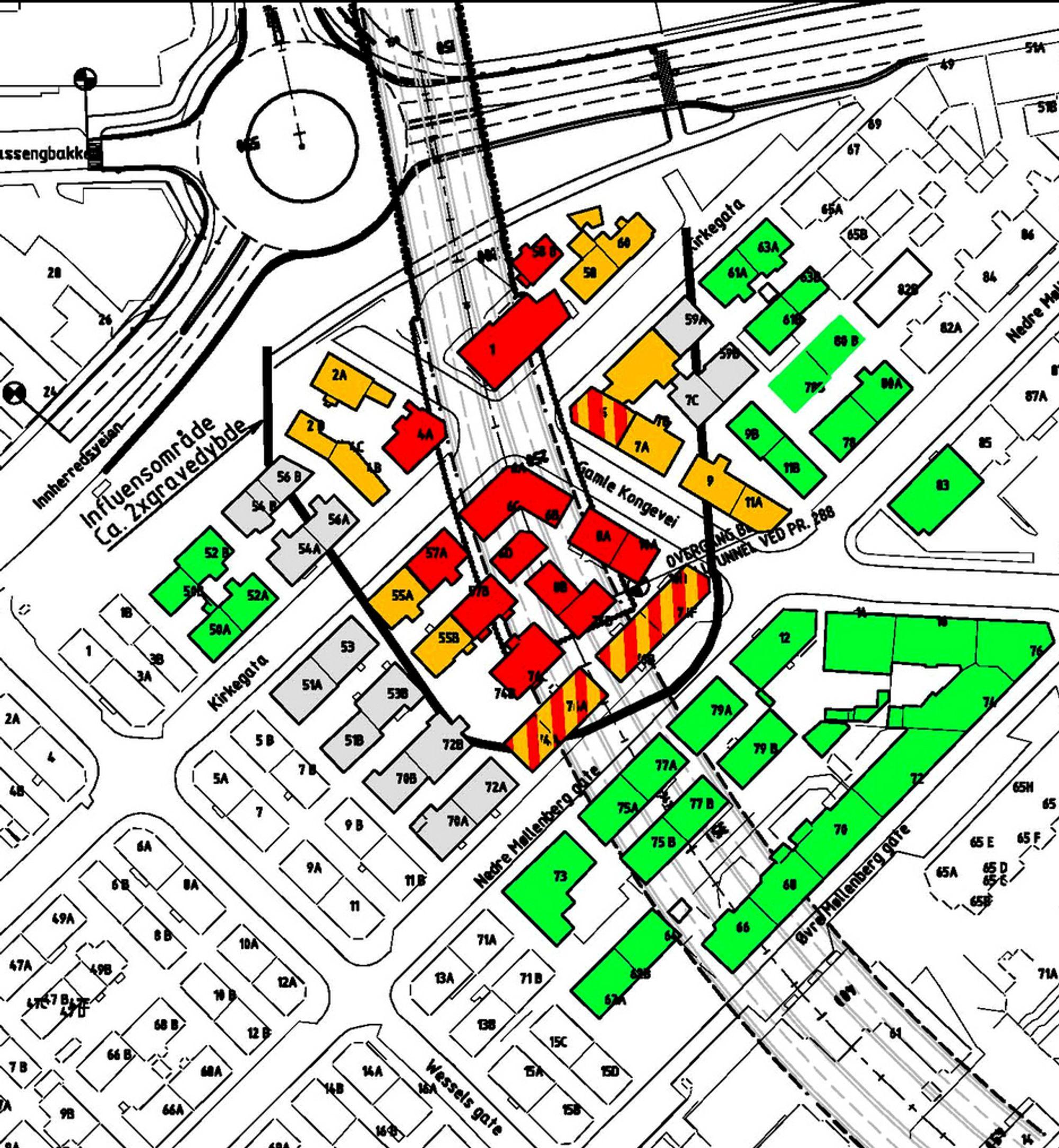 De røde feltene markerer hus det kan bli aktuelt å flytte eller rive.