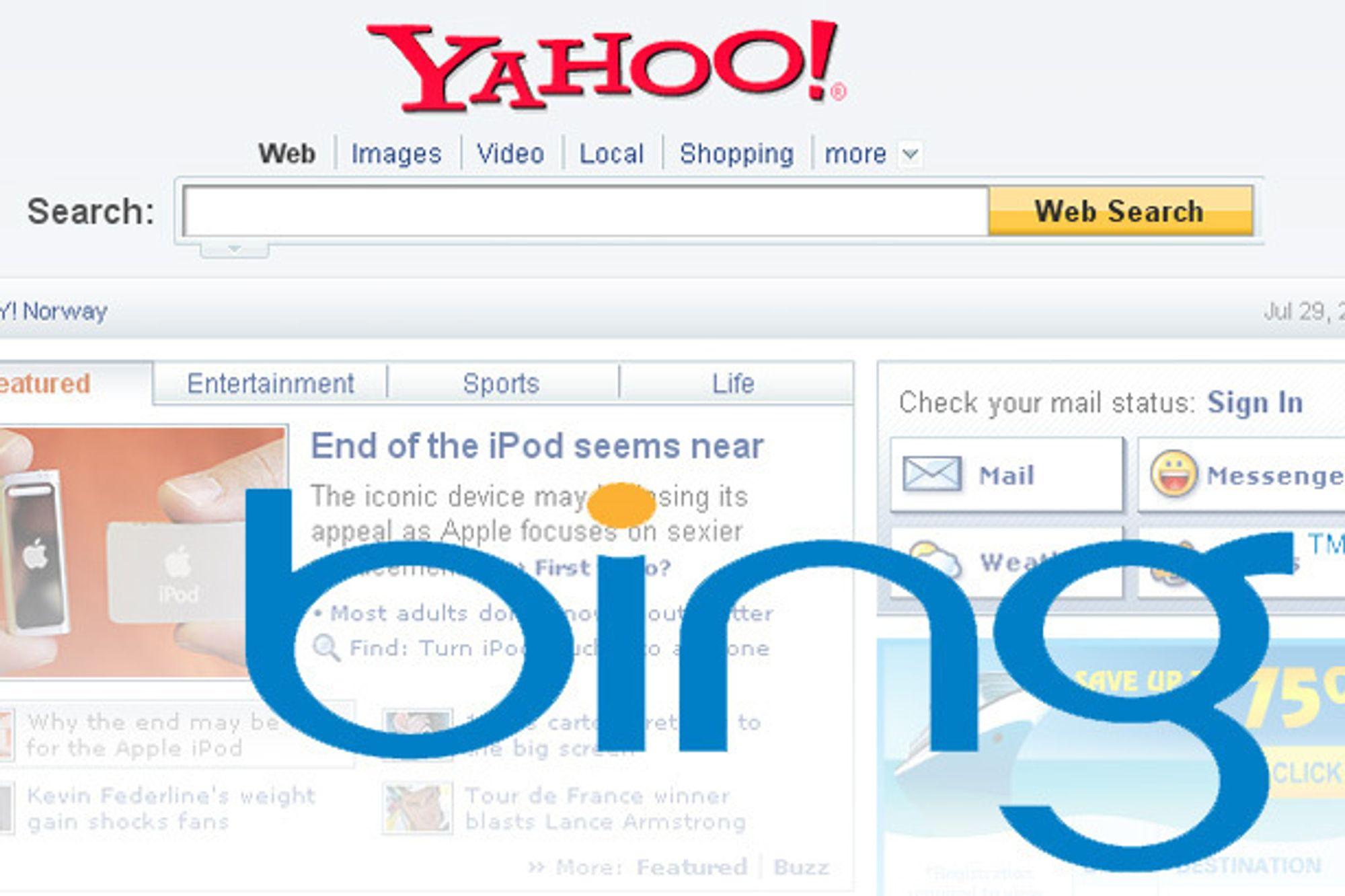 Bing overtar som søkemotor hos Yahoo om Microsoft og Yahoo får det som de vil.