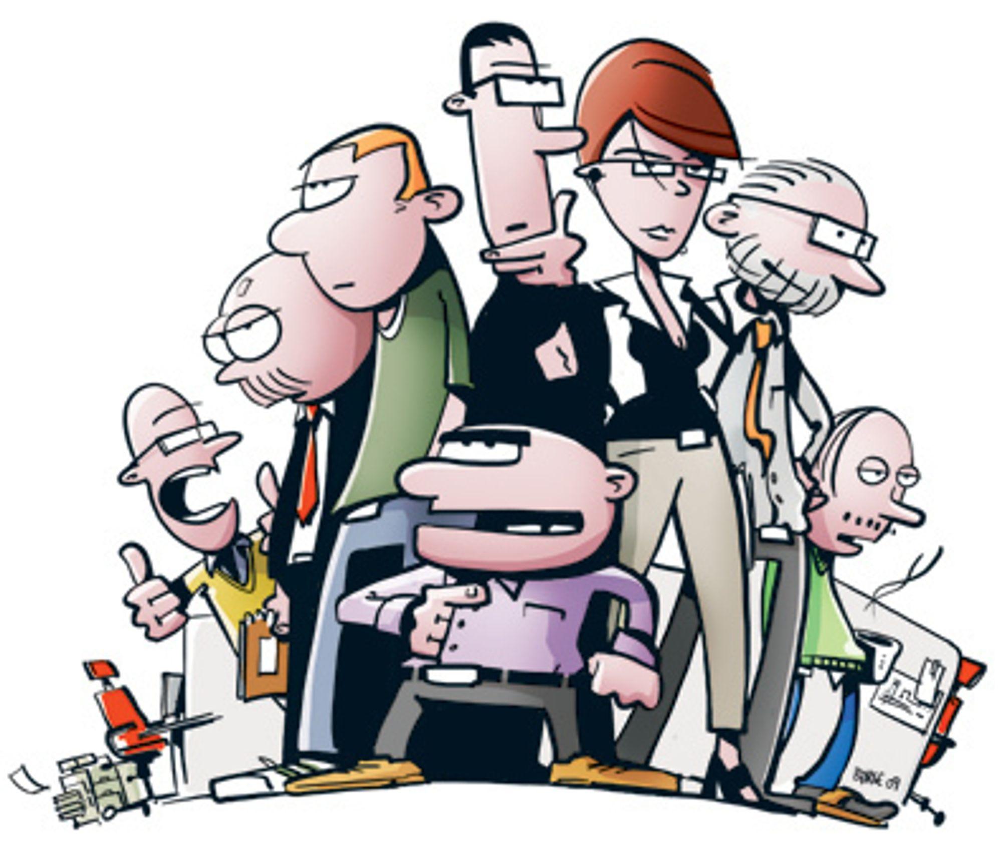 """Dette er karakterene i tegneserien """"Lunch"""". Fra venstre: Kalle, Bache, Kim, Nico, Linn, Thorsen, Gustav. Foran i midten: Kjell."""