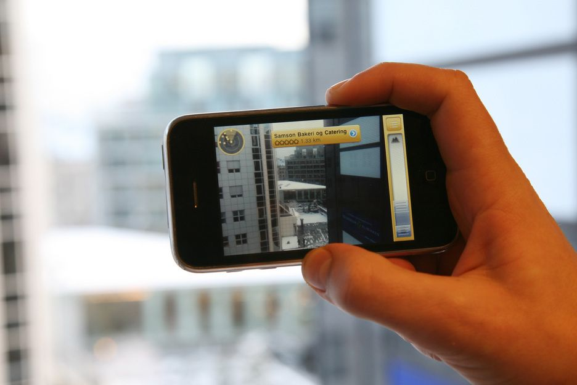 Utvidet virkelighet i Gule Siders nye iPhone-applikasjon.