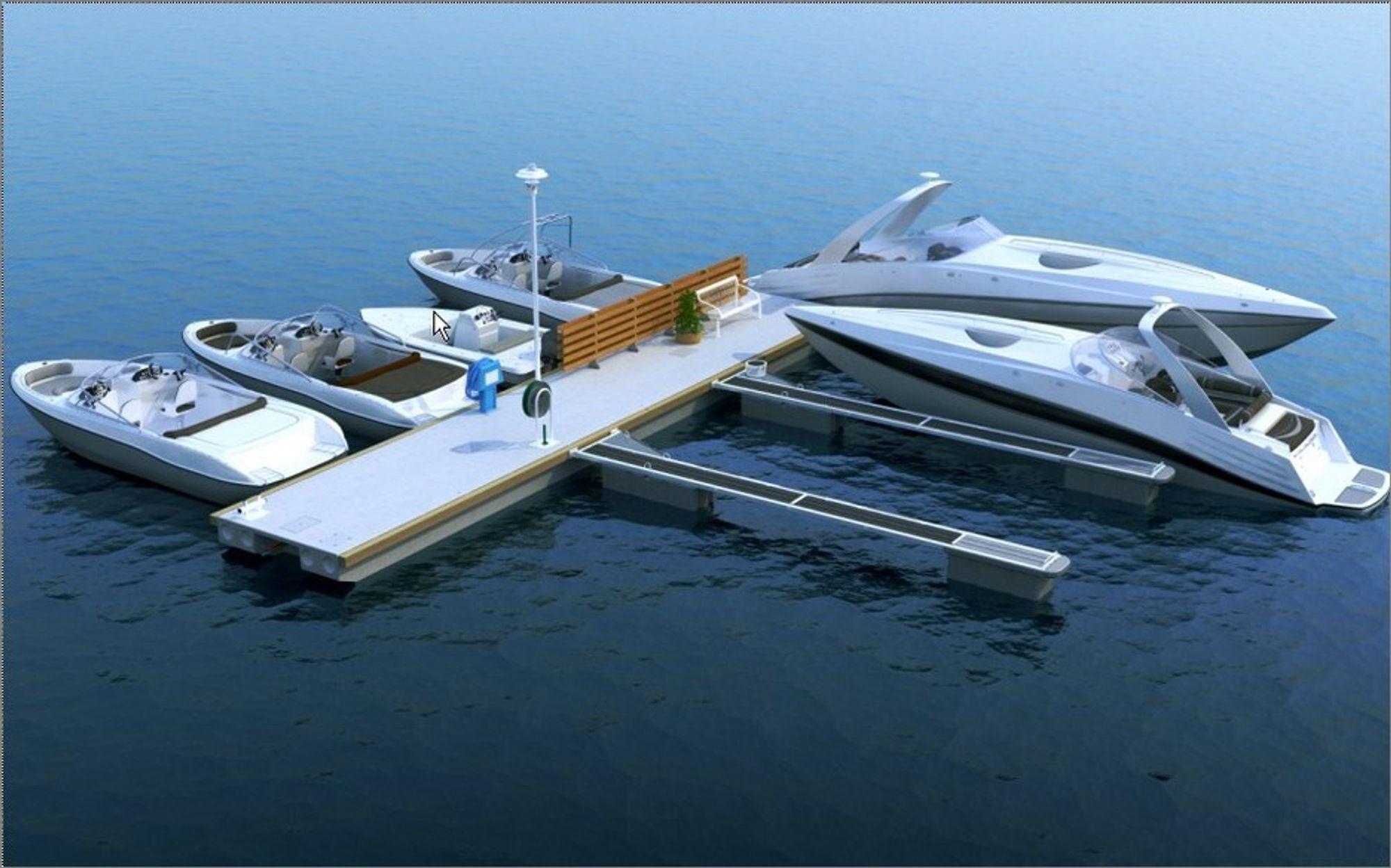 FLYTER: Ørsta Marina Systems har søkt patent på sin Futura brygge med innstøpte kanaler for framføring av strøm, vann og annet.