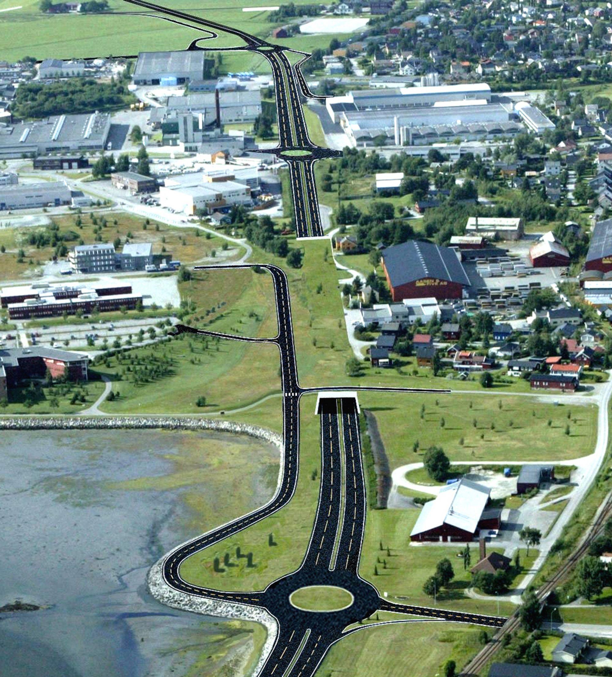 TANGTUNNELEN: Når Tangtunnelen er ferdig, vil ikke E6 ligge som en barriere mellom Stjørdal sentrum og sjøen slik den gjør nå.