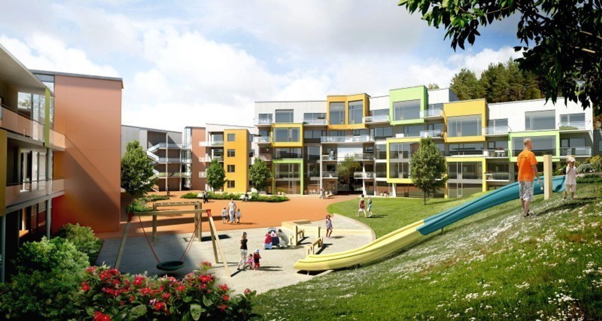 HABILITET: En av kandiatene til årets pris er lavernergiboligene i Løvåshagen i Bergen. Der er både Sintef Byggforsk og ByBo som begge sitter i juryen involvert, i tillegg er Husbanken involvert som er sekretariat for juryen.