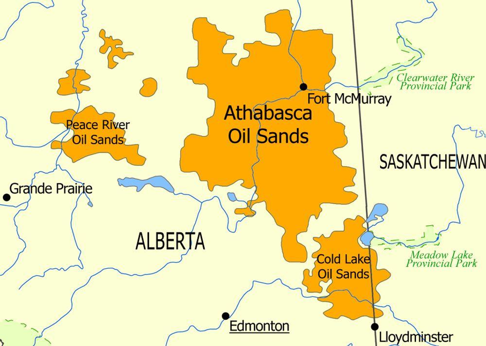 MYE TUNGOLJE: Alberta har store forekomster av oljesand. NAOSCs lisenser ligger i Athabasca-regionen.