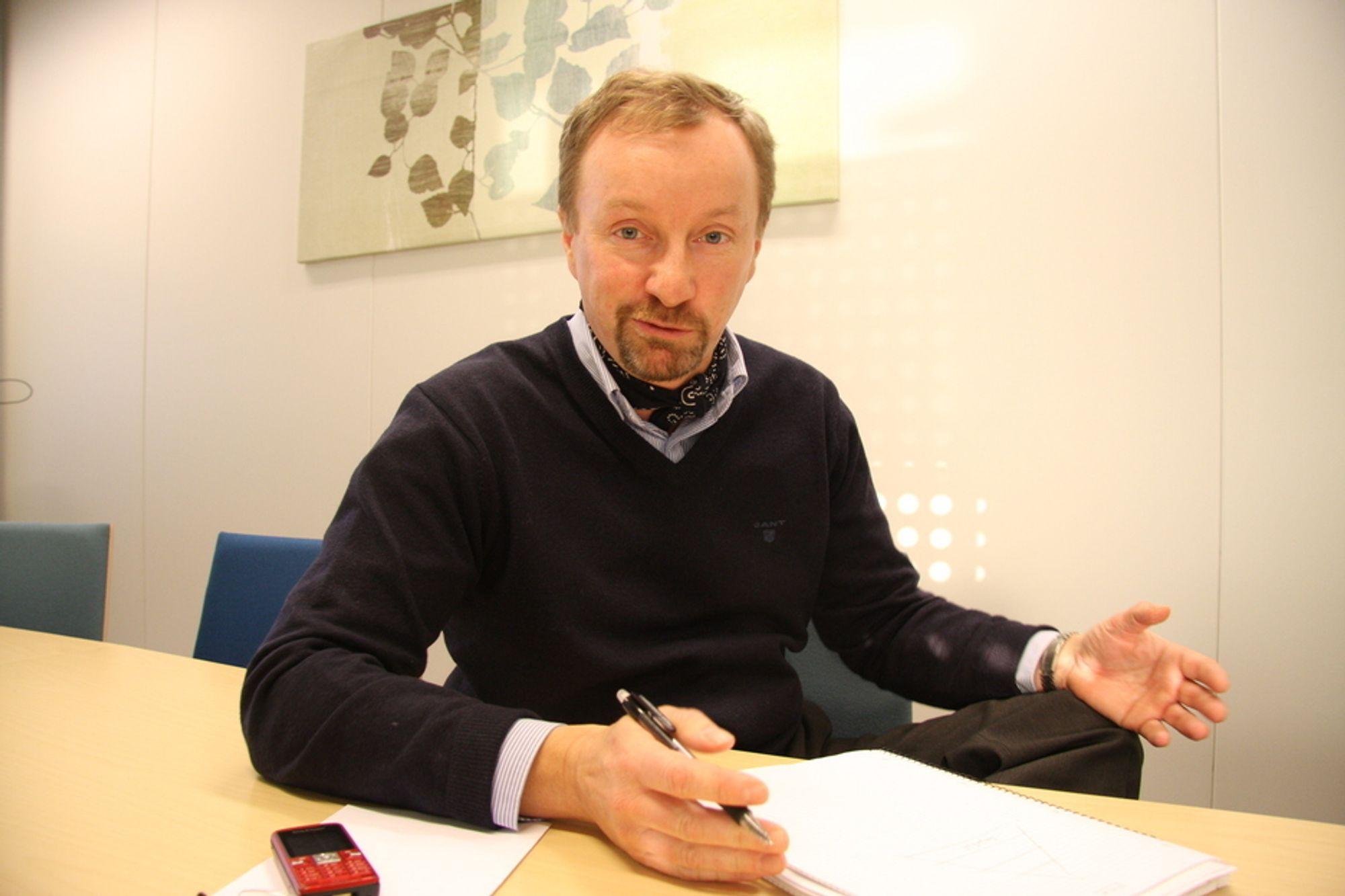 MÅ KUTTE: Peter Gjørup, administrerende direktør i NCC Construction må si opp 200 personer på grunn av finanskrise og byggestopp.