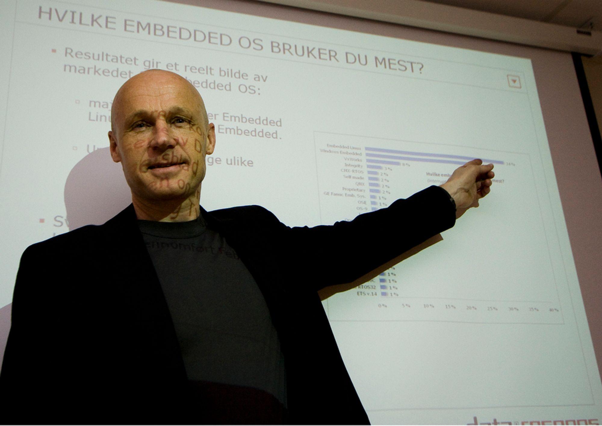 PEKER OPPOVER: Teknisk direktør Hans Christian Lønstad i Data Respons sier at stadig flere av de som bruker innebygget elektronikk foretrekker Linux og Windows.