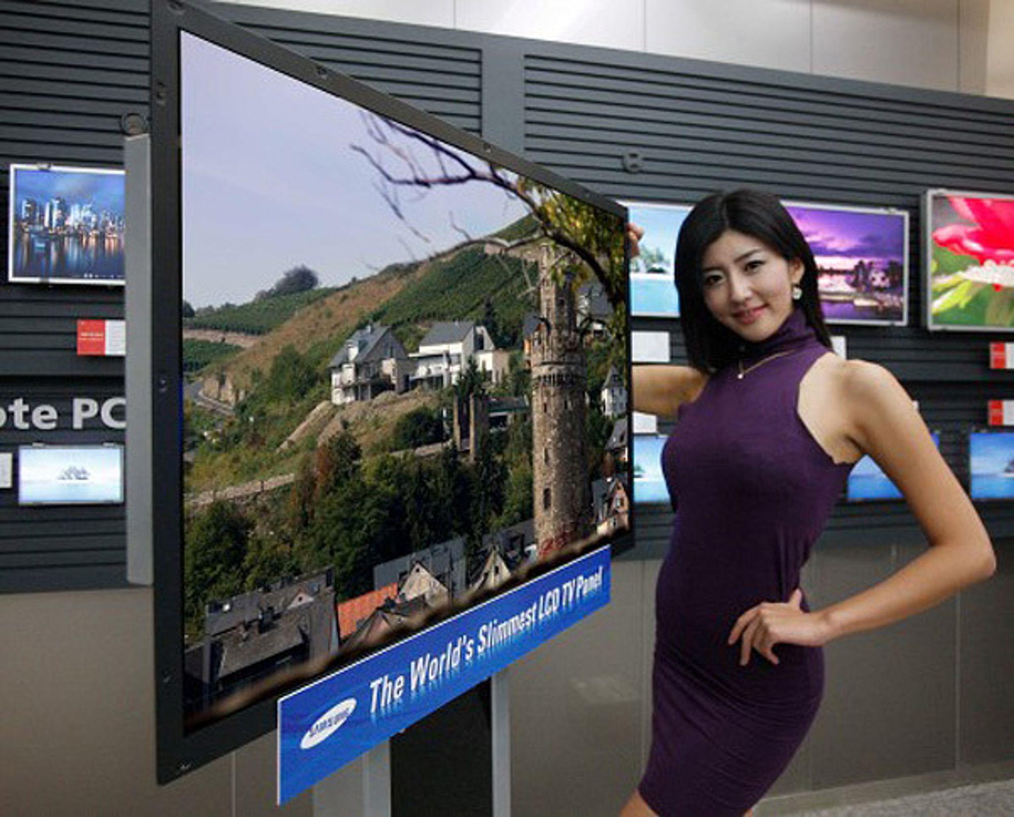 """Samsungs """"Needle Thin"""" LED-baklyste TV er bare 3,9 millimeter tykk."""