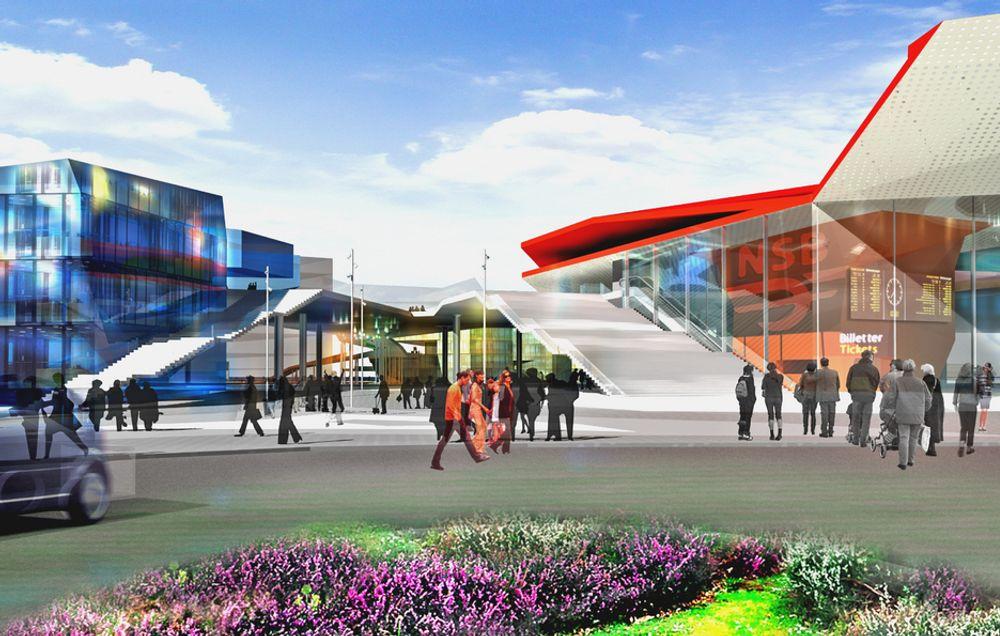 Slik vil den nye gangbrua se ut fra sør når det nye terminalbygget for tog og buss blir ferdig.
