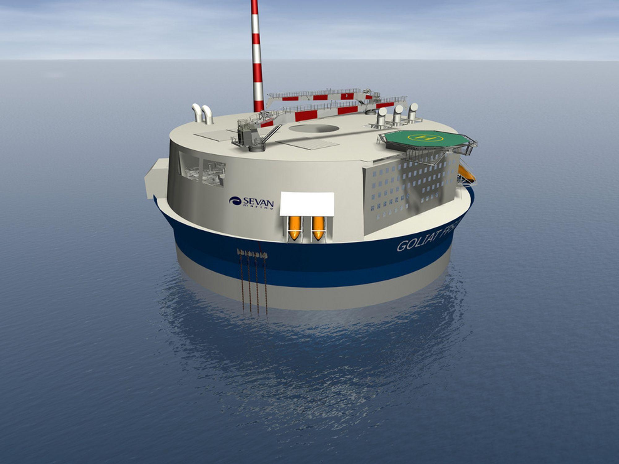 AKSEPTERT: Eni har valgt Sevans løsning for utbyggingen av Goliat-feltet. Miljøverndepartementet anser at Enis valgte utbyggingsløsning med en produksjonsplattform til havs er mest miljøvennlig.