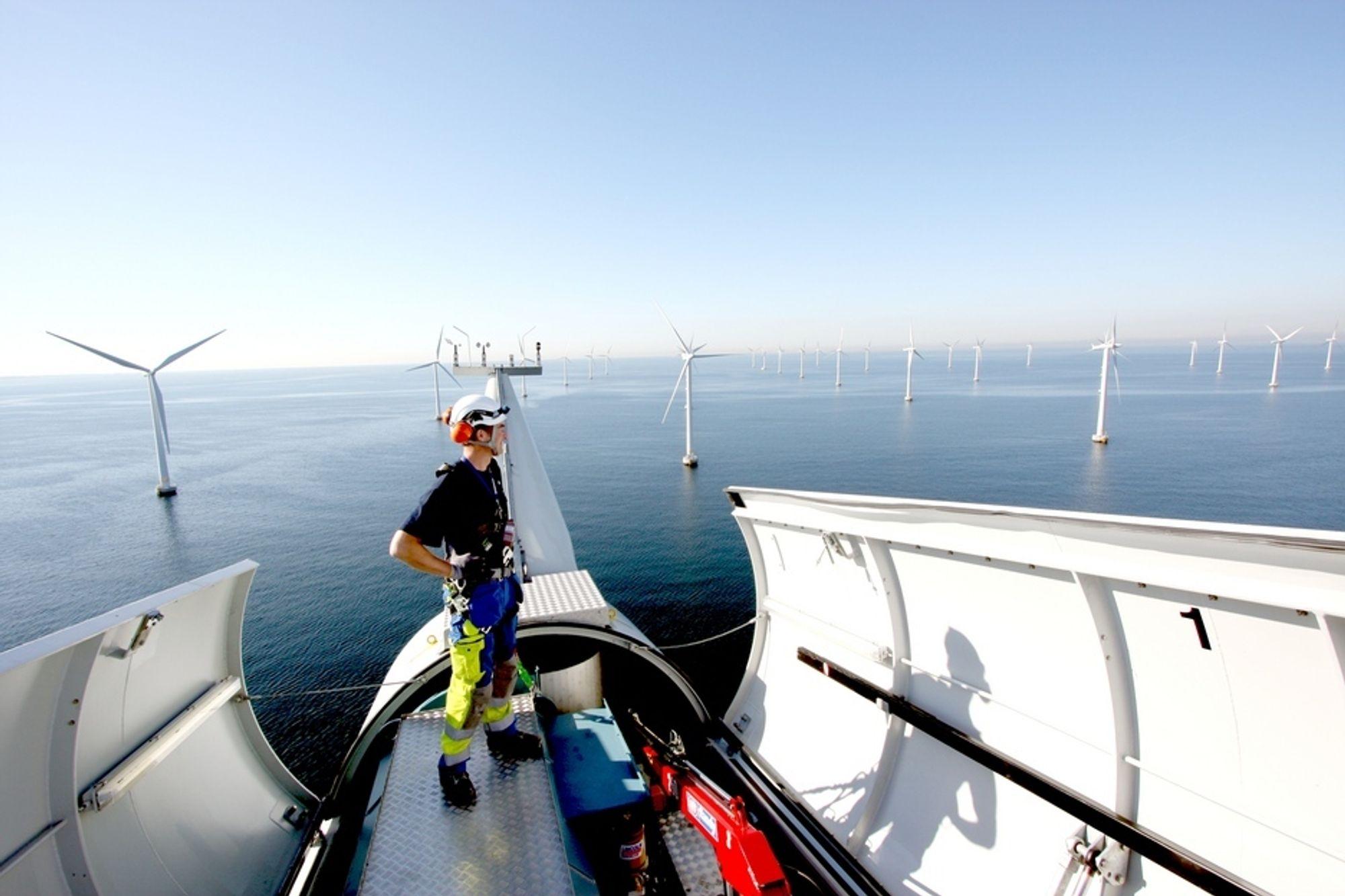 TIDLIG PARK: Dette er havvindparken Lillgrund i Sverige på rundt 90 MW. Parkene som bygges nå er langt større. I fjor ble det installert 883 MW havvind i Europa fordelt på ni prosjekter, ifølge EWEA. Det er over 50 prosent mer enn året før, og 3000 nye MW er under bygging.