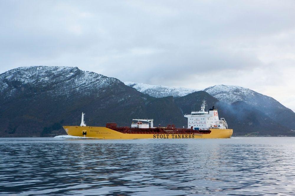 KONKURRANSE: Kjemikalieskipet Stolt Island er bygd ved STX Florø. Verftet har bare noen få skip igjen å bygge, og sliter med at spanske verft underbyr dem. Norge kan komme til å saksøke Spania for ulovlig verftsstøtte.
