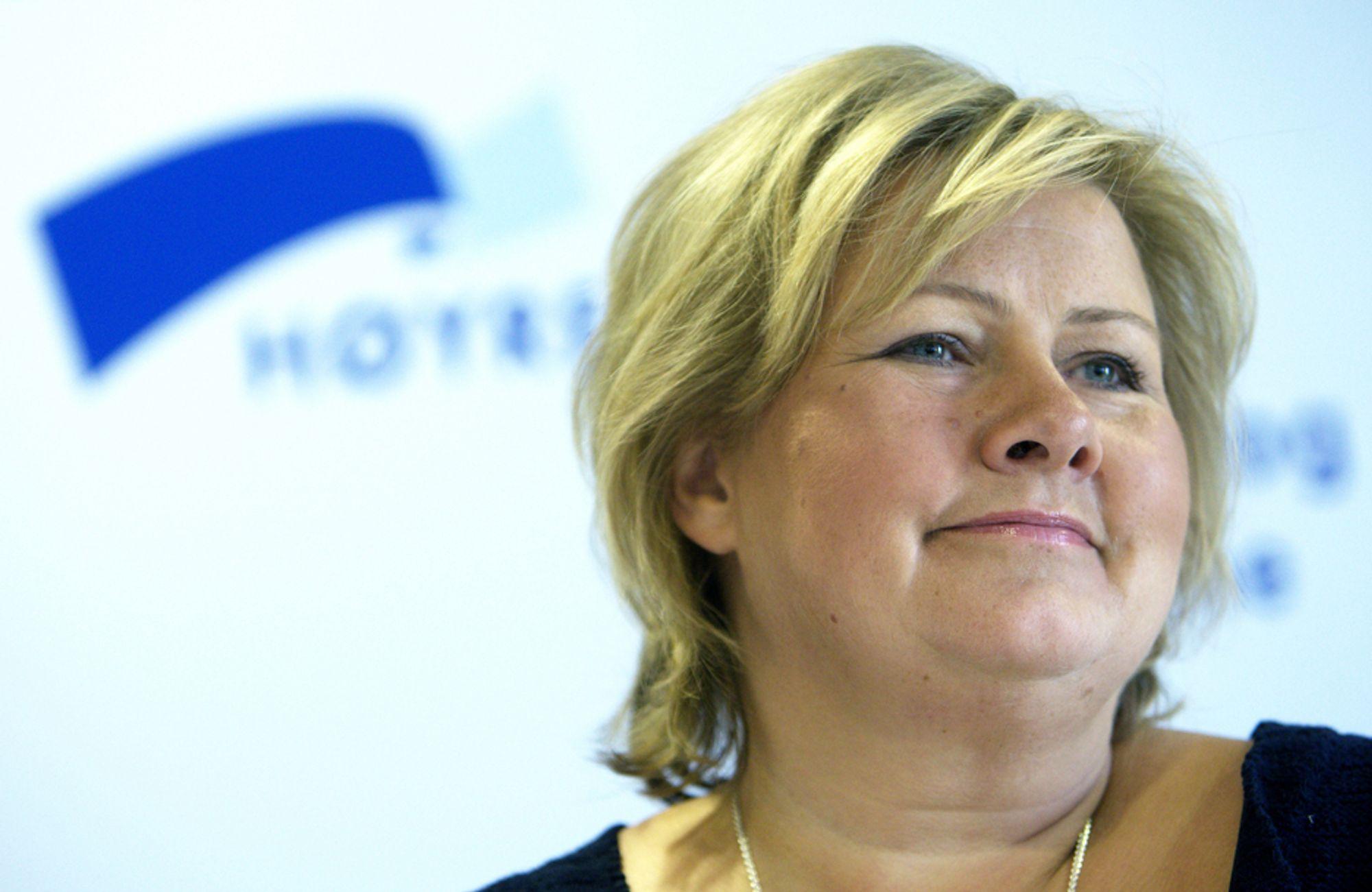 KREVER FORTGANG: Høyre-leder Erna Solberg fastslår at spørsmålet om oljeutvinning utenfor Lofoten og Vesterålen blir en viktig del av en eventuell borgerlig regjeringsforhandling til høsten.