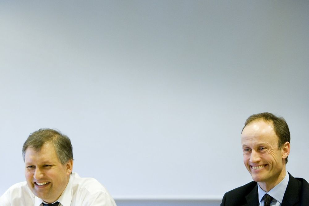 GAVMILDE: Olje- og energiminister Terje Riis-Johansen og Enova-direktør Nils Kristian Nakstad deler rundhåndet ut millioner til energiprosjekter.