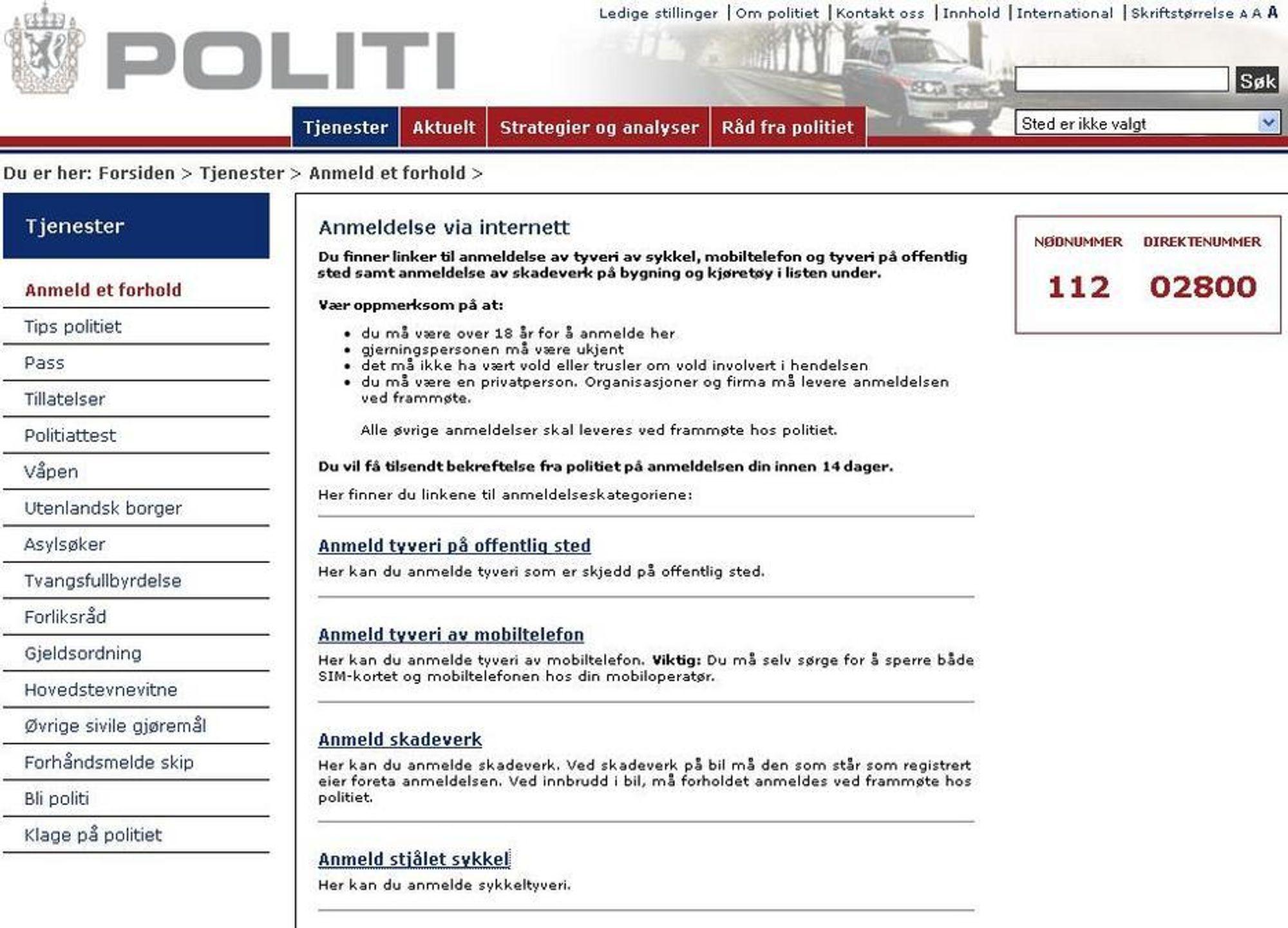 Nå kan man anmelde på nettet. Nye politi.no lansert 310809.