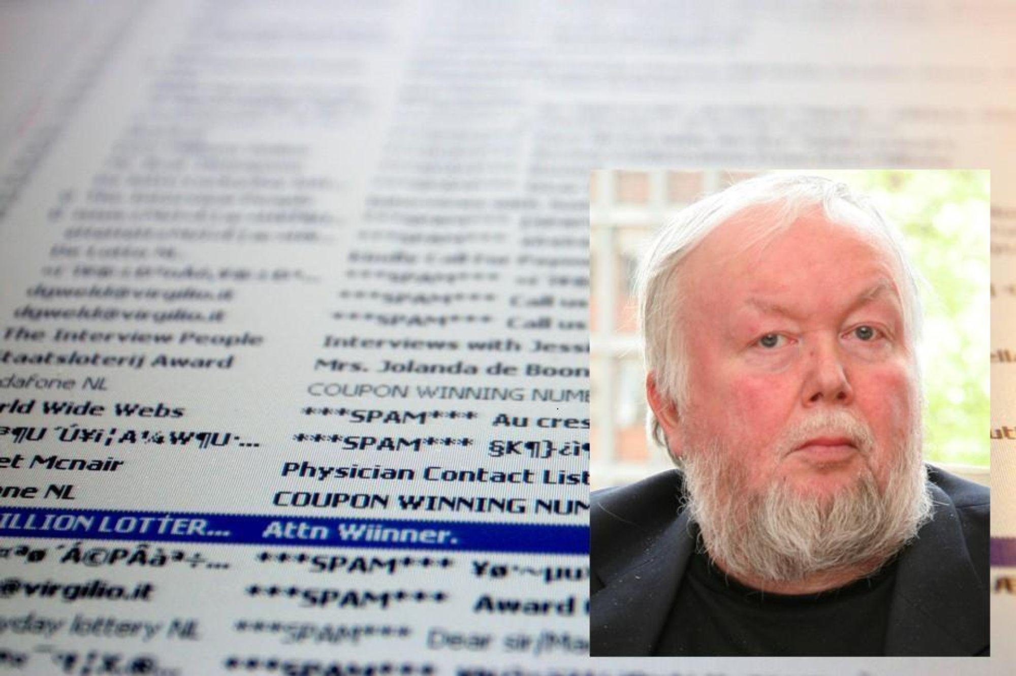 SØPPELBERGET VINNER: Vi er i ferd med å tape kampen mot spam, mener UiO-lektor Gisle Hannemyr (innfelt).