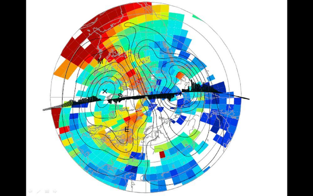 UVÆR FRA VEST:Illustrasjonen viser hvordan det vanlige spredningsmønsteret for elektronisk uvær er. Det oppstår gjerne over det nordamerikanske kontinentet og brer seg over Nordkalotten. Typiske vil det ta mellom 4 og 6 timer får elektronskyene i ionosfæren kommer inn over Nord-Norge og Barentsregionen hvor de kan skape alvorlige forstyrrelser i navigasjonssystemer.