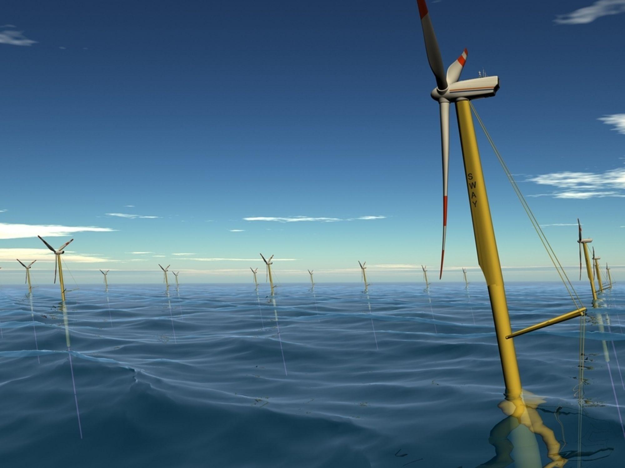 GRØNT LYS-: Lyse har fått klarsignal til konsekvensutredning for en testpark med flytende havvindturbiner. Sways flyterturbiner er den teknologien Lyse trolig vil bruke.
