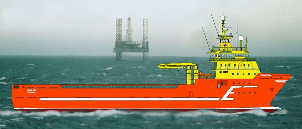 100.000 BILER: Reduksjonen i NOx-utslpipp fra den naturgassdrevene Viking Energy tilsvarer 100.000 biler årlig. (Ill: Eidesvik)