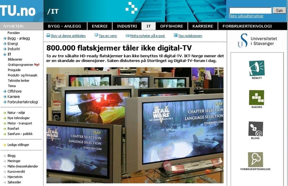 Skjermdump av TU.no 1. april. Flere tusen TU-lesere gikk på spøken om at HD Ready tv-er ikke kan ta i mot digital-tv-signaler fra dekoderne på grunn av feil komprimeringsformat.