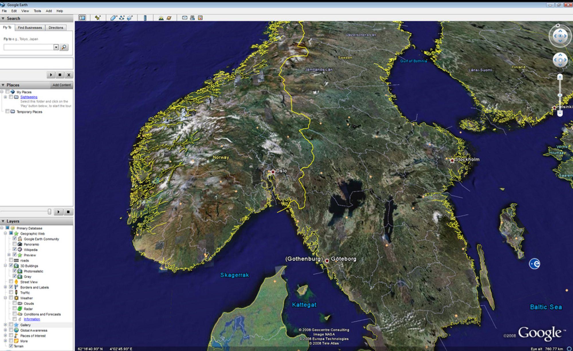 FLY LAVT: Nå kommer Google Earth også på norsk. Versjonen på bildet er på engelsk.