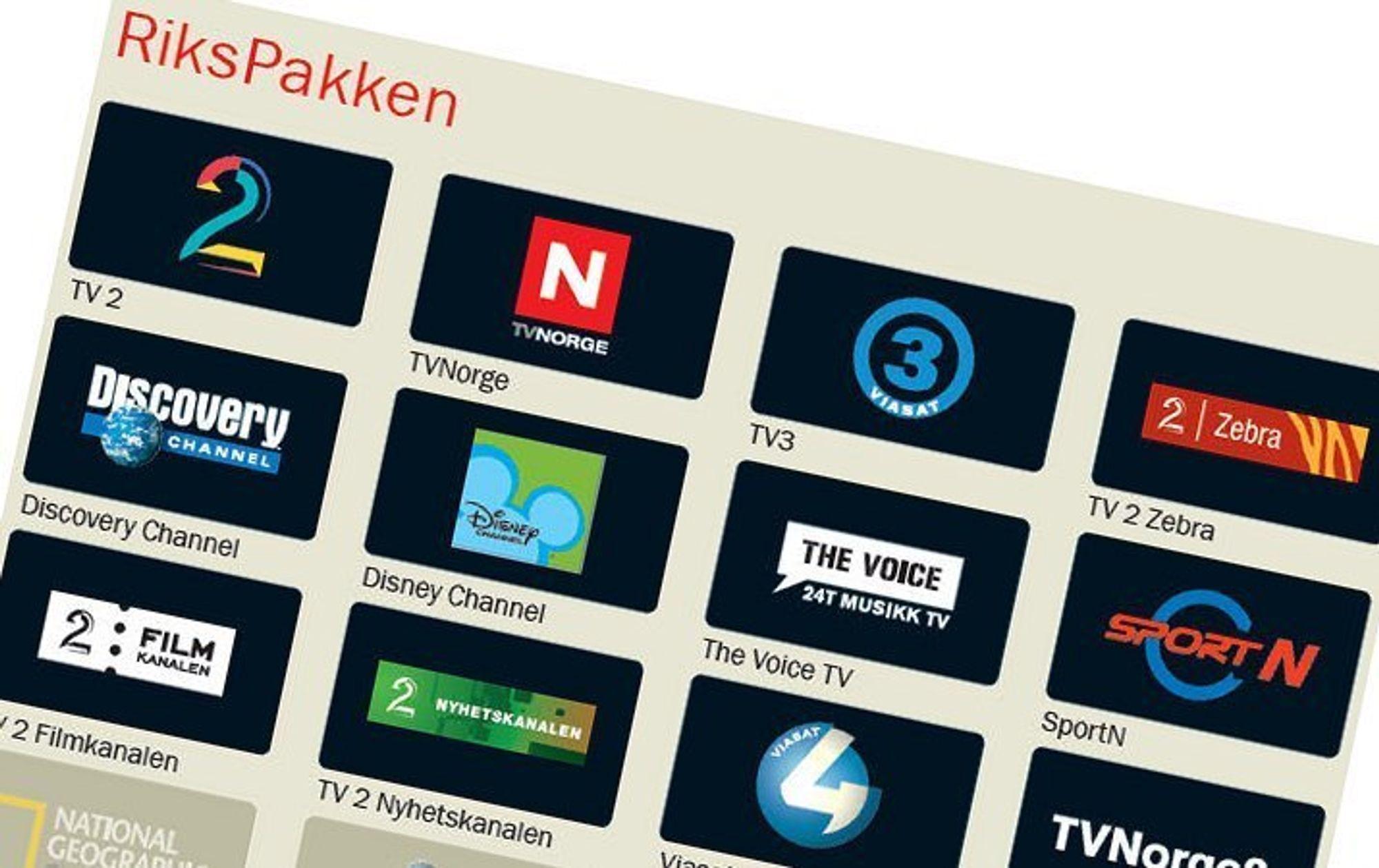 EGNE PAKKER: Både Viasat, TVNorge og TV2 kan tilby seerne egne kanalpakker fra 2010. Men bare TV2 har forhandlet med RiksTV.